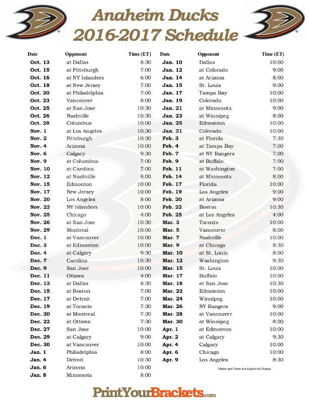 Printable Anaheim Ducks Hockey Schedule 2016 2017