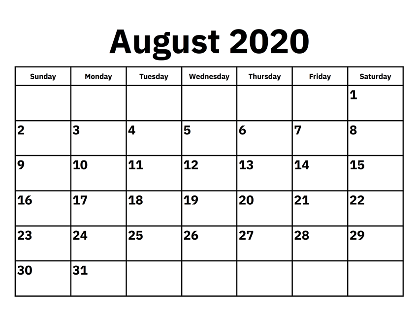 Printable August 2020 Calendar In 2020 Calendar Template