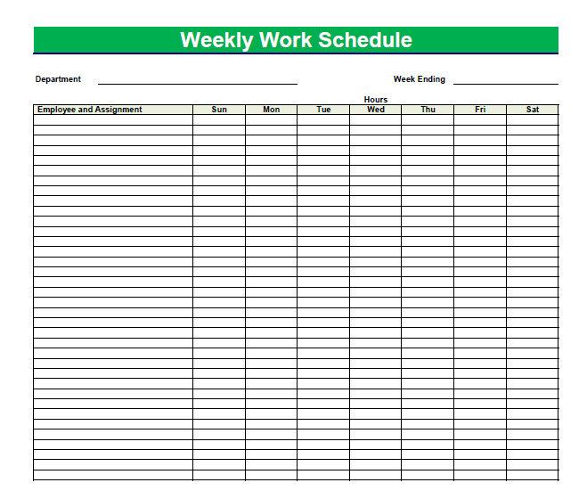 Printable Blank PDF Weekly Schedules Blank PDF Weekly