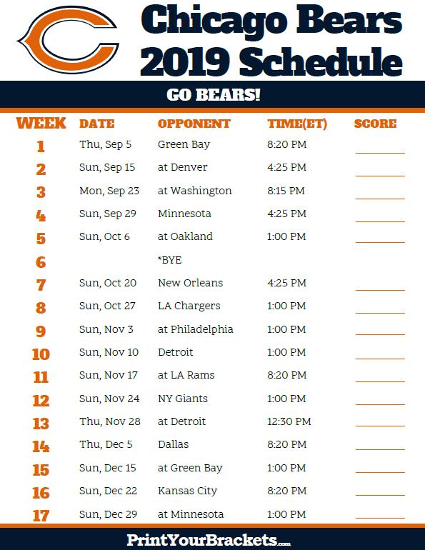 Printable Chicago Bears Schedule 2019 Season Chicago