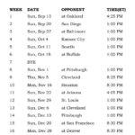 Printable Cincinnati Bengals Schedule 2015 Football