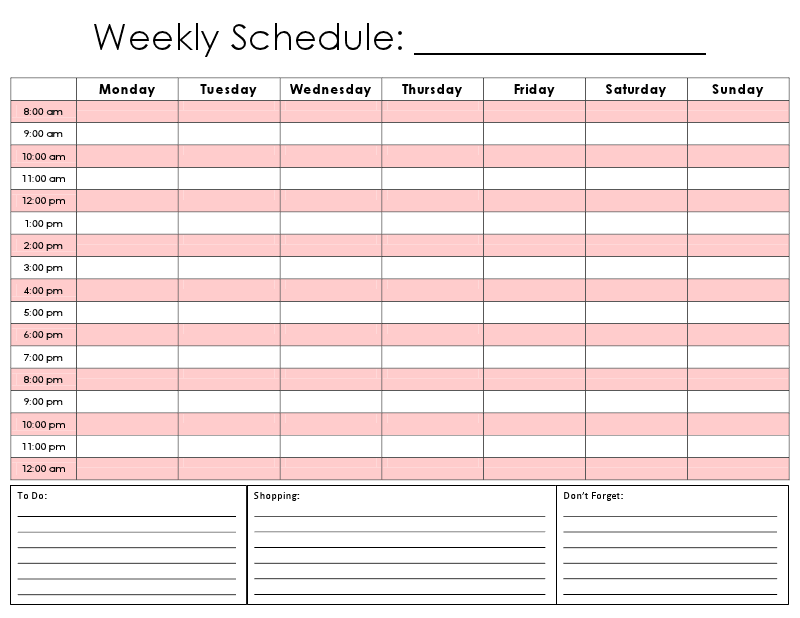 Printable Daily Hourly Schedule Template Schedule