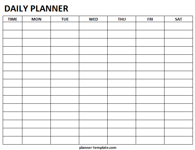 Printable Daily Planner Template Blank Daily Hourly