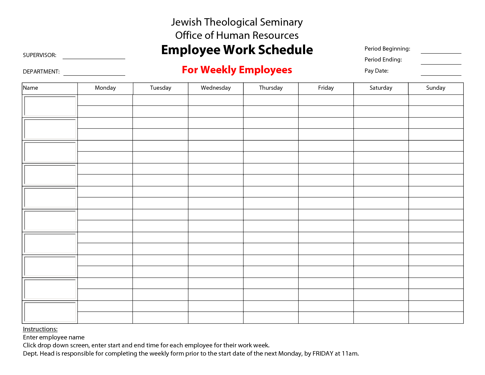 Printable Employee Work Schedule Template Monthly