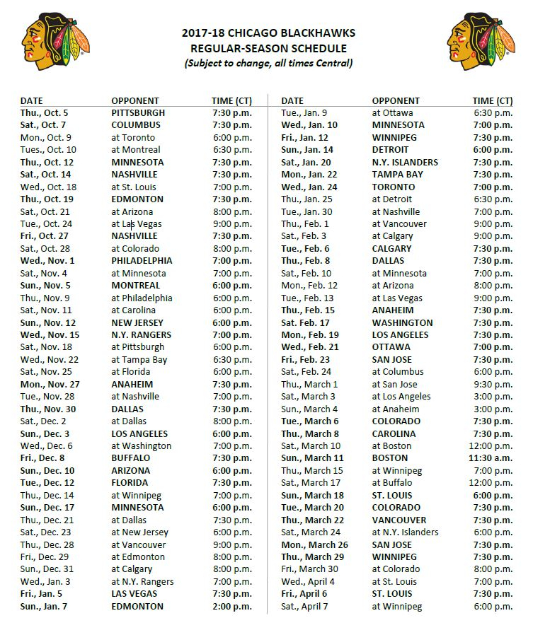 Printable Hawks Schedule Download Them And Try To Solve