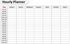 Printable Hourly Schedule Template 24 Hours Planner