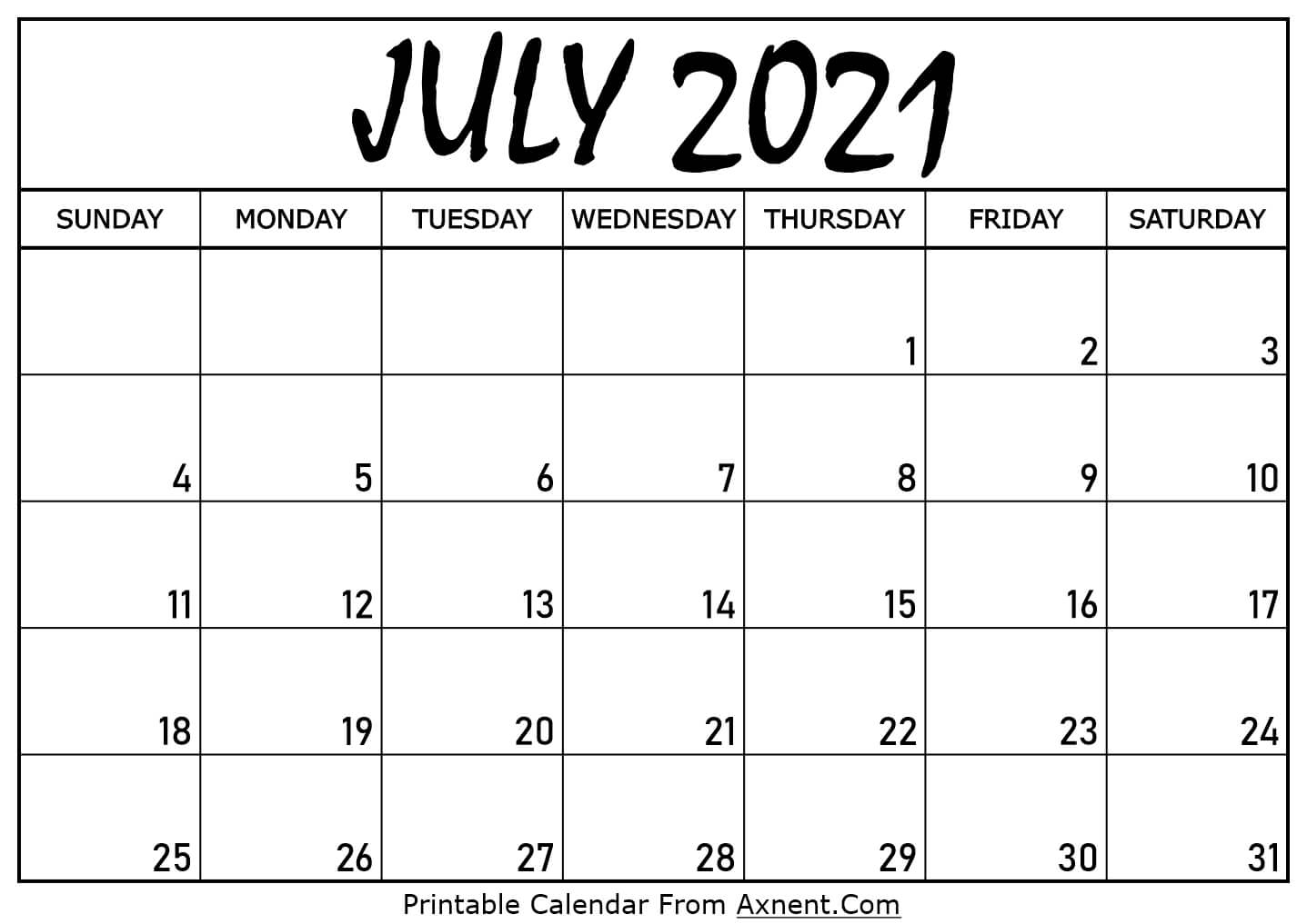 Printable July 2021 Calendar Template Time Management