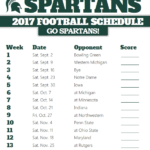 Printable Michigan State Spartans Football Schedule With