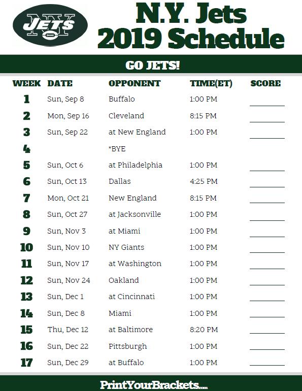Printable N Y Jets Schedule 2019 Season New York Jets