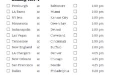 Printable NFL Week 8 Schedule Pick Em Pool 2020