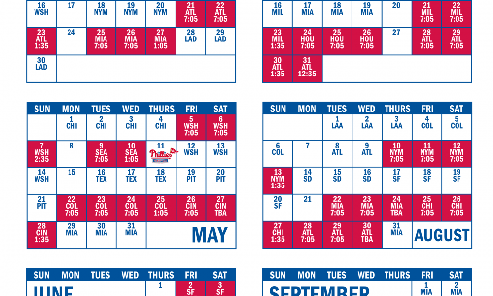 Printable Phillies Schedule Download Them And Try To Solve