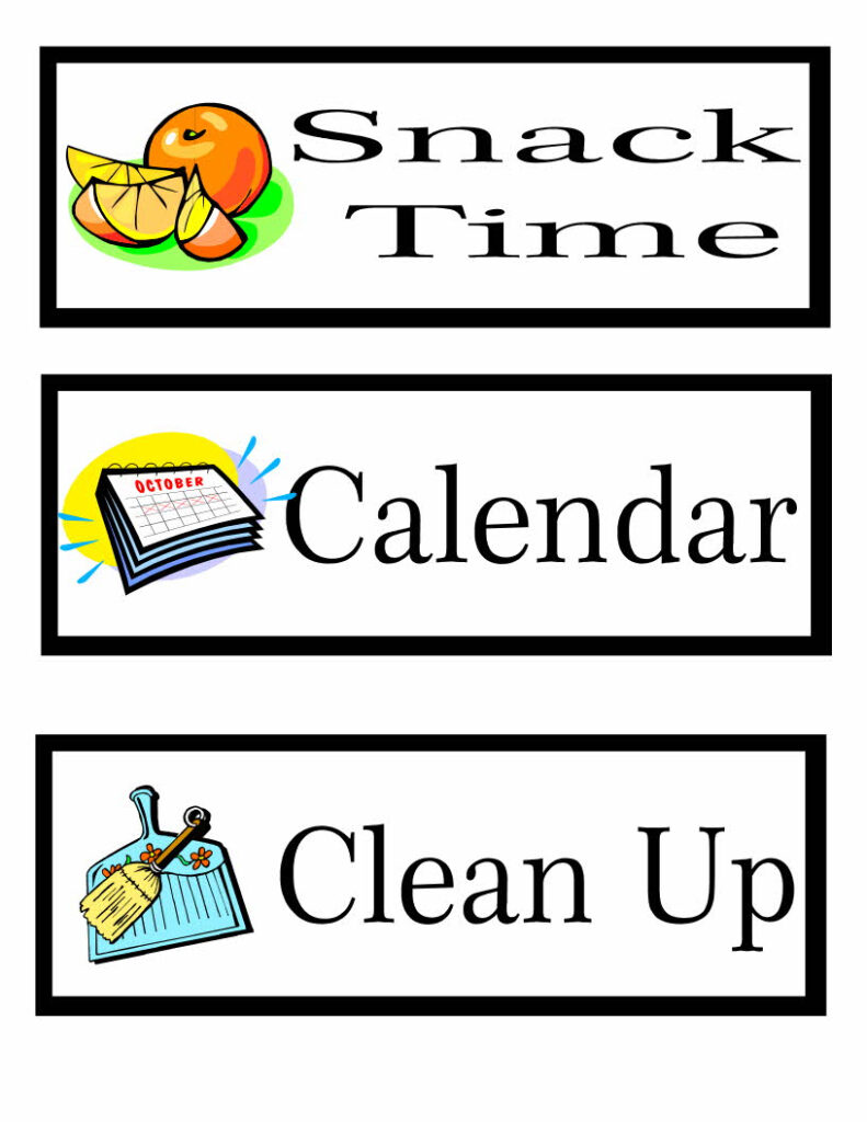 Printable Preschool Schedule Cards Learning To Be A Mom