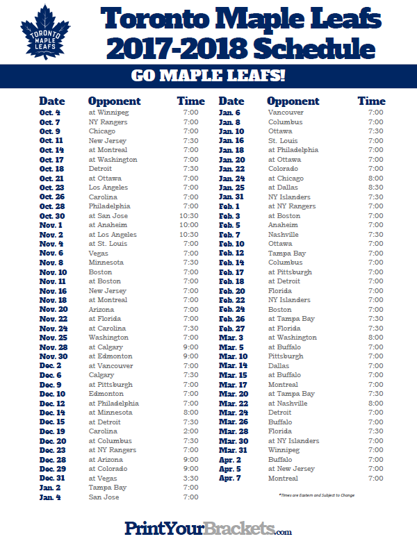 Printable Schedule Nhl Download Them And Try To Solve