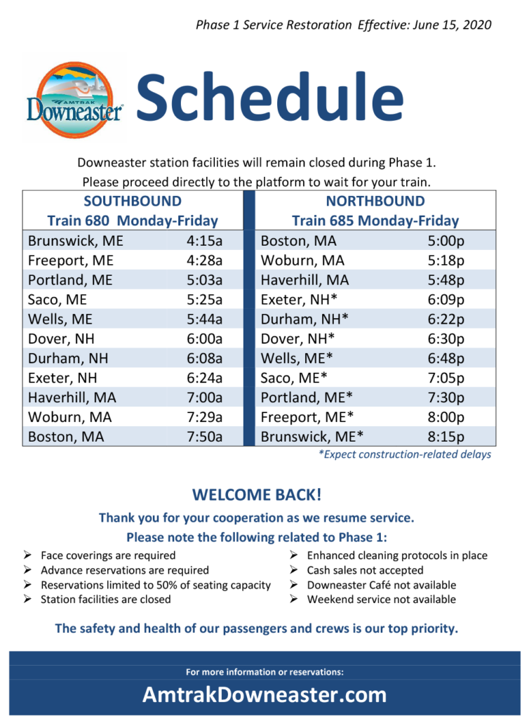 Printable Schedules Amtrak Downeaster