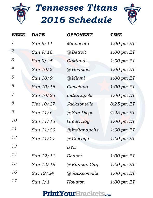 Printable Tennessee Titans Schedule 2016 Football Season