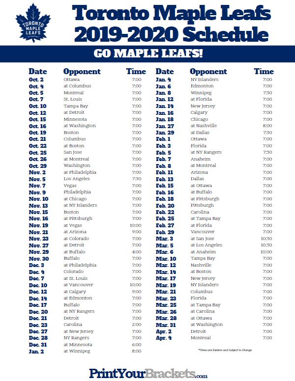 Printable Toronto Maple Leafs Hockey Schedule 2019 2020