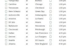 Printable Week 7 NFL Schedule Pick Em Sheets Nfl Nfl