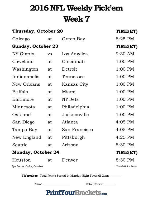 Printable Week 7 NFL Schedule Pick Em Sheets Nfl Week