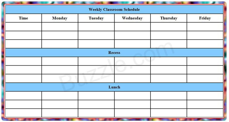 Printable Weekly Class Schedule Template Eduzenith