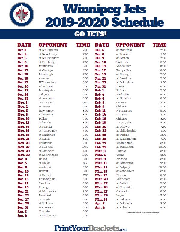 Printable Winnipeg Jets Hockey Schedule 2019 2020
