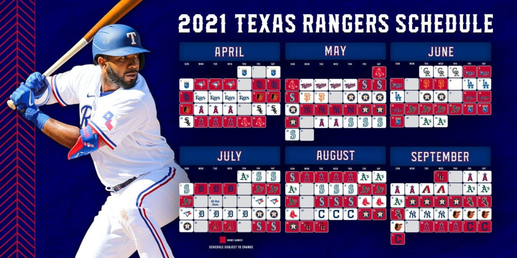 Rangers Notes 2021 Schedule Summer Camp Night Games