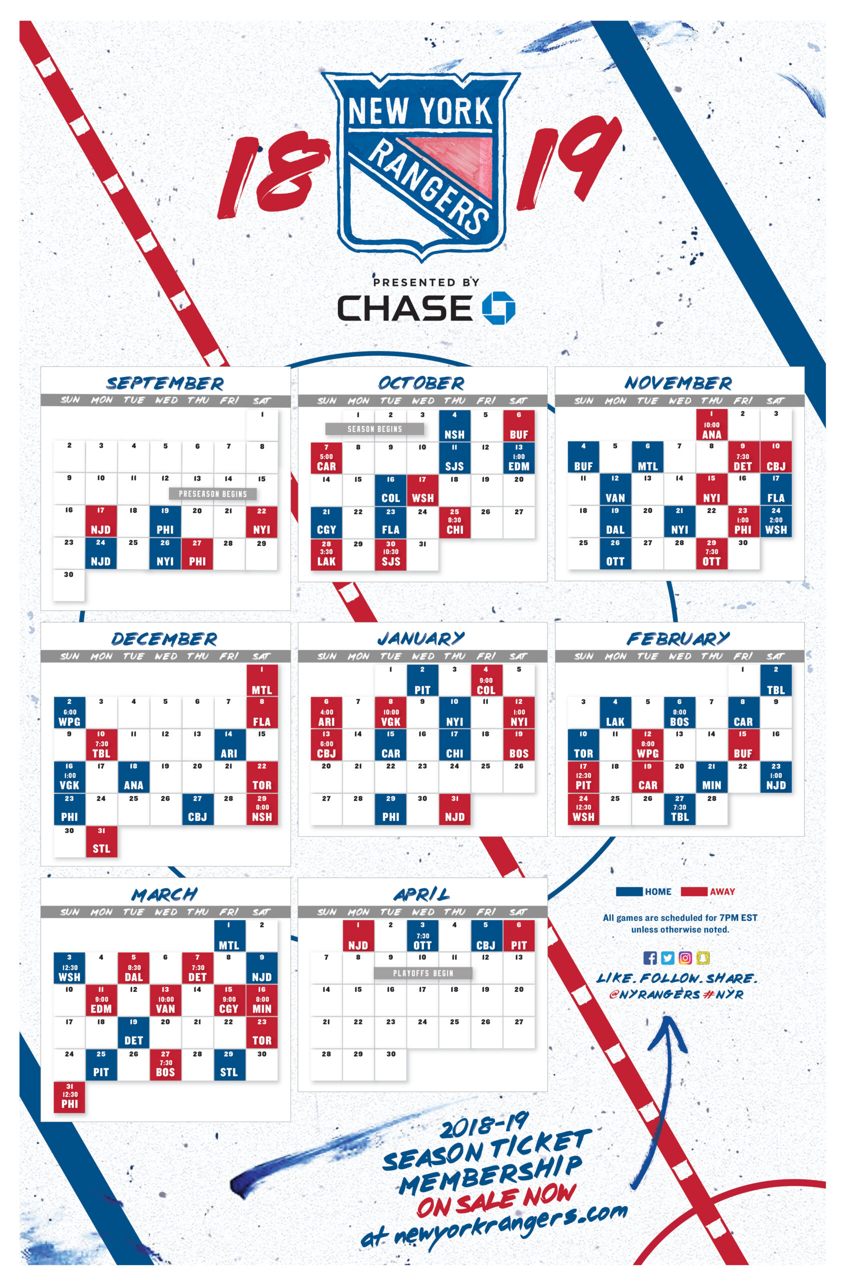 Rangers Schedule Nhl Examples And Forms
