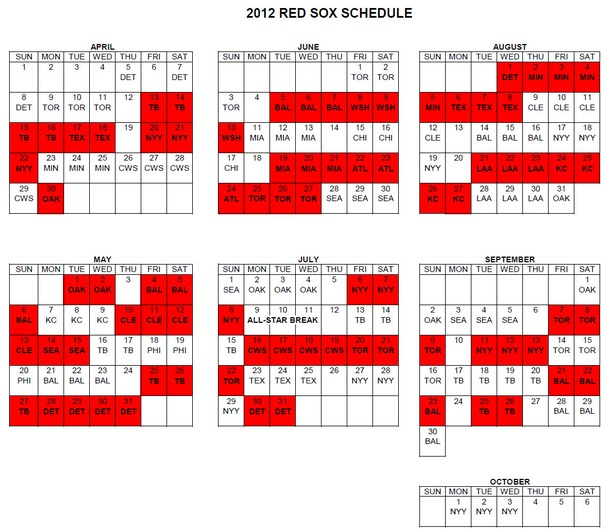 Red Sox 2012 Schedule Released Boston