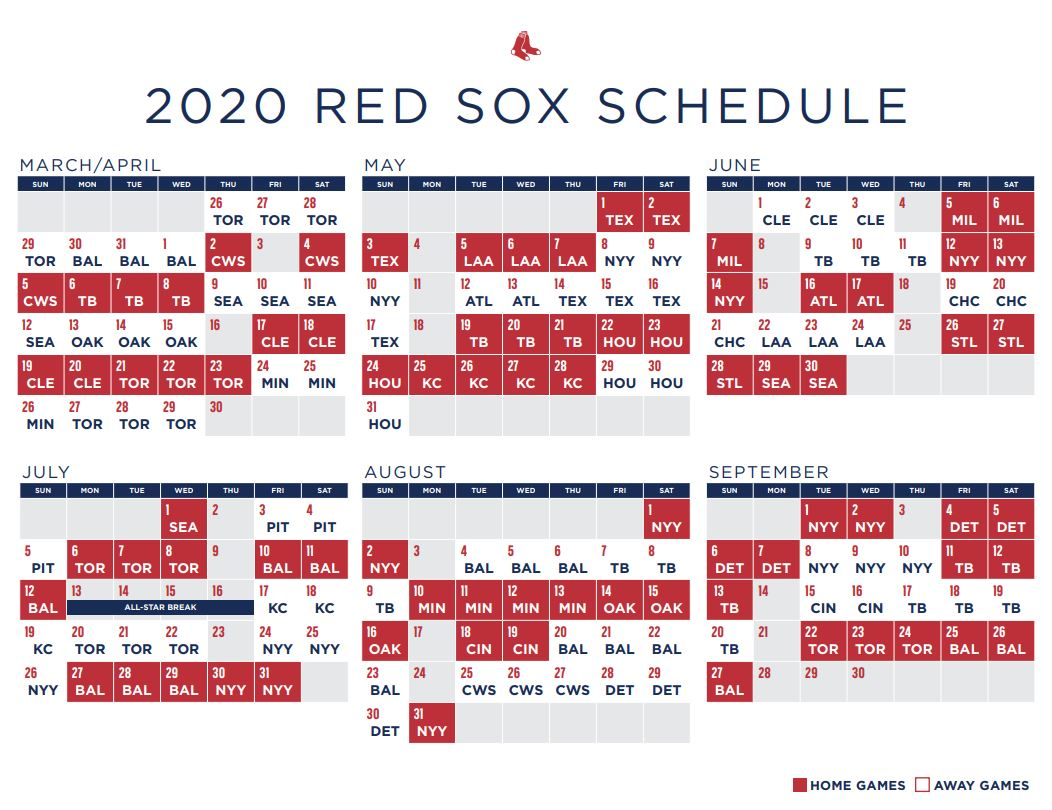Red Sox Schedule 2020 Boston To Open New Season In