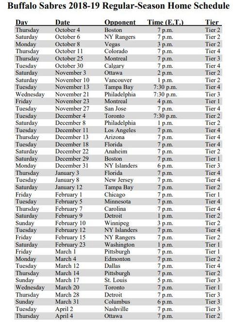 Sabres Schedule Printable That Are Wild Aubrey Blog
