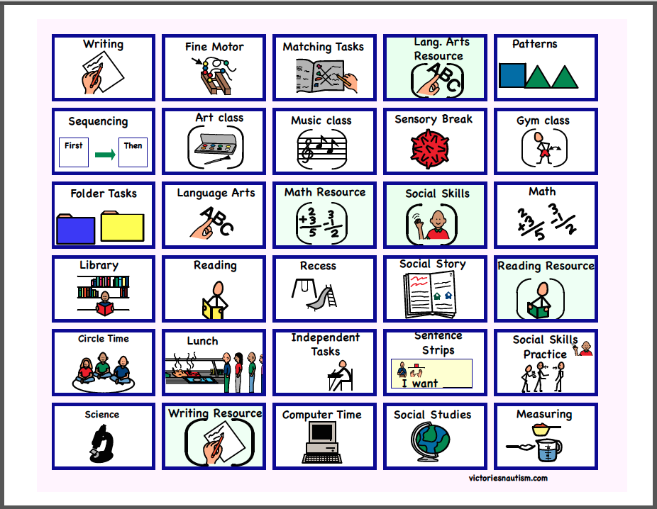 Schedule And Task Cards For A School Setting Picture