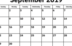 September 2019 Calendar Template PDF Word Excel Latest
