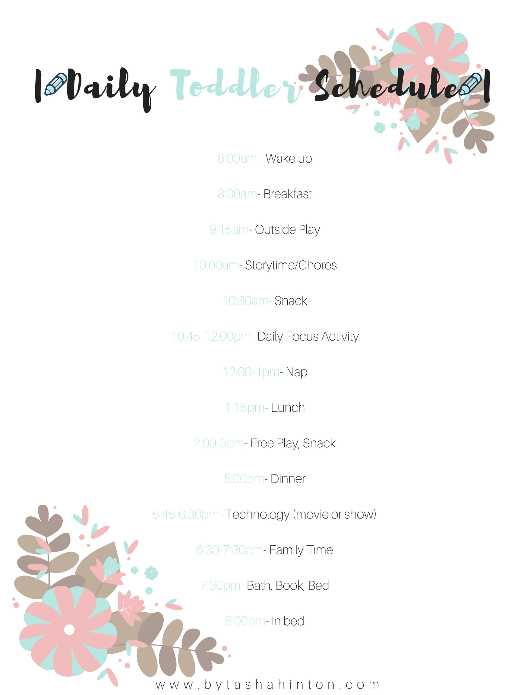 Summer Schedule For Toddlers With Free Printable