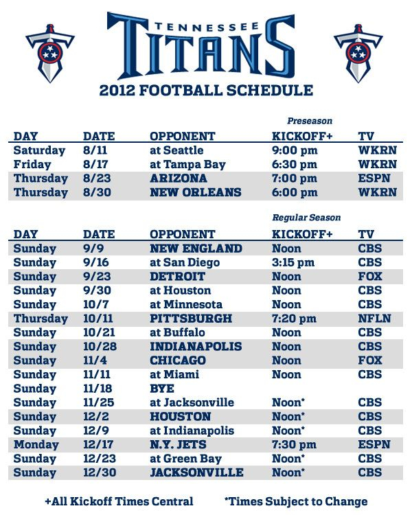 Tennessee Titans Season Schedule Tennessee Titans