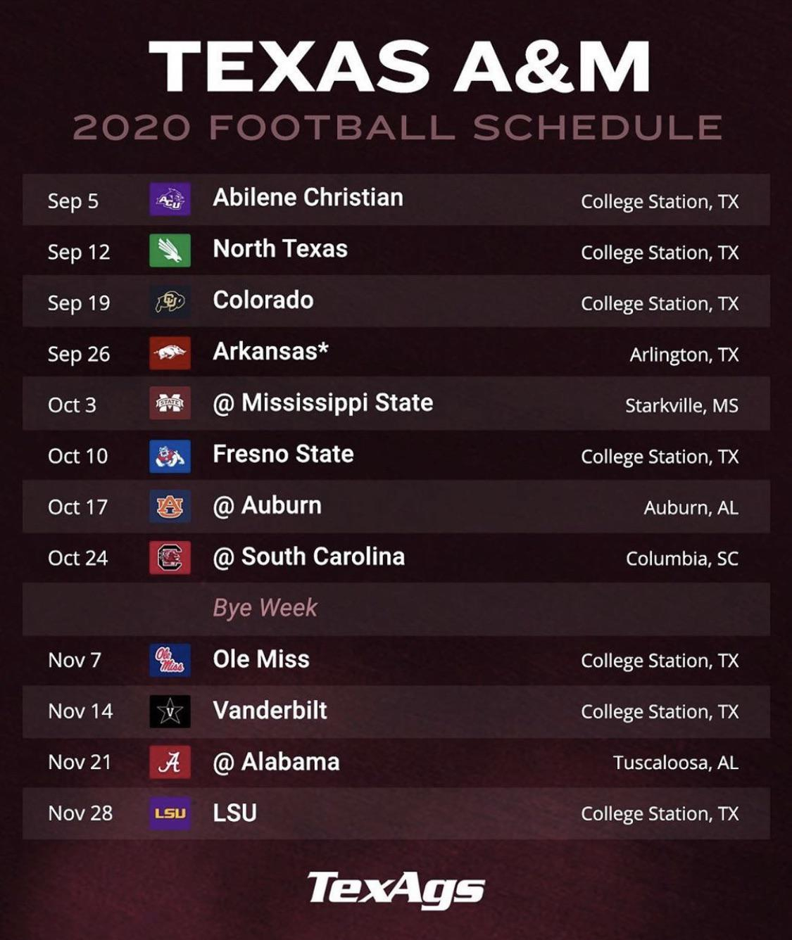 Texas A M 2020 Football Schedule Released 12thMan