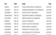 The Best Printable Gonzaga Basketball Schedule Rogers Blog