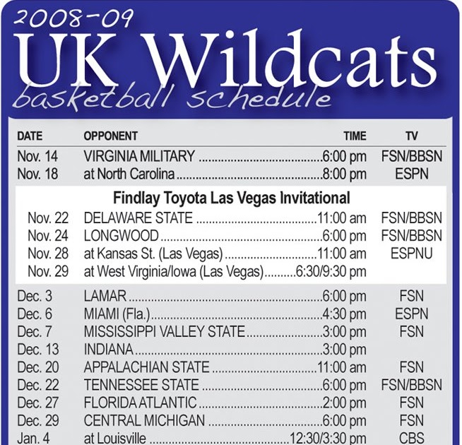 The Press Online Printable UK Basketball Schedule