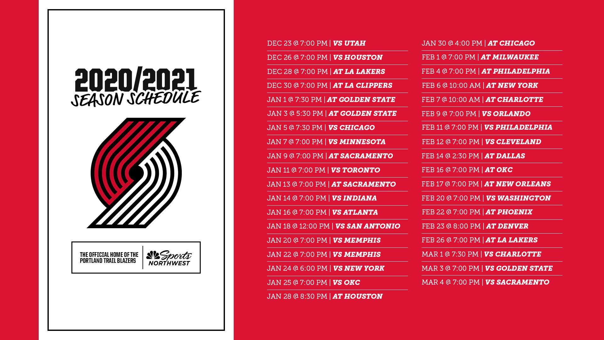 Trail Blazers 2020 21 Schedule Dates Start Times