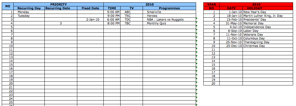 TV Schedule ExcelTemplate