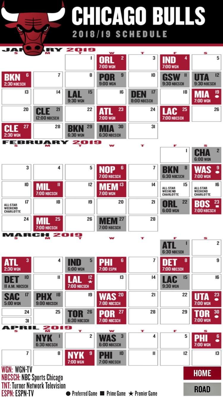 Updated Bulls Schedule Phone Wallpaper For Jan April
