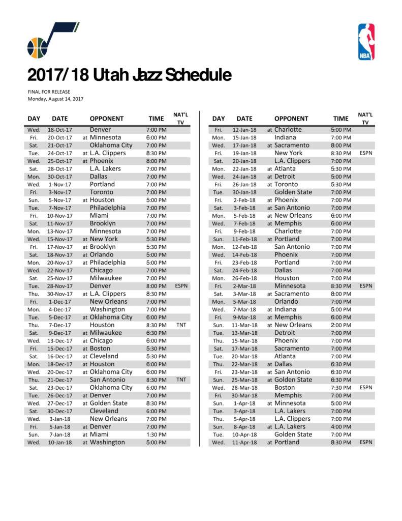 Utah Jazz Schedule Printable That Are Punchy Ruby Website