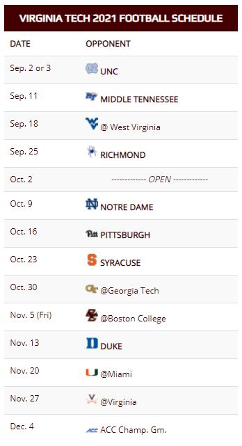 Virginia Tech Releases 2021 Football Schedule