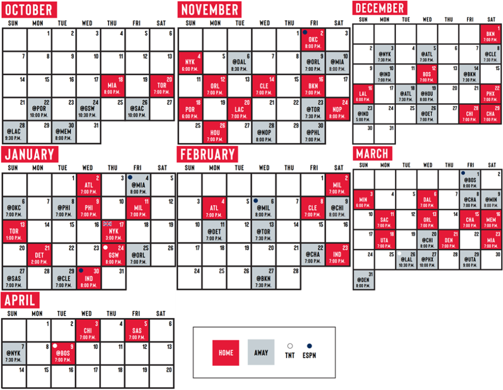 Washington Wizards 2018 19 Regular Season Schedule The