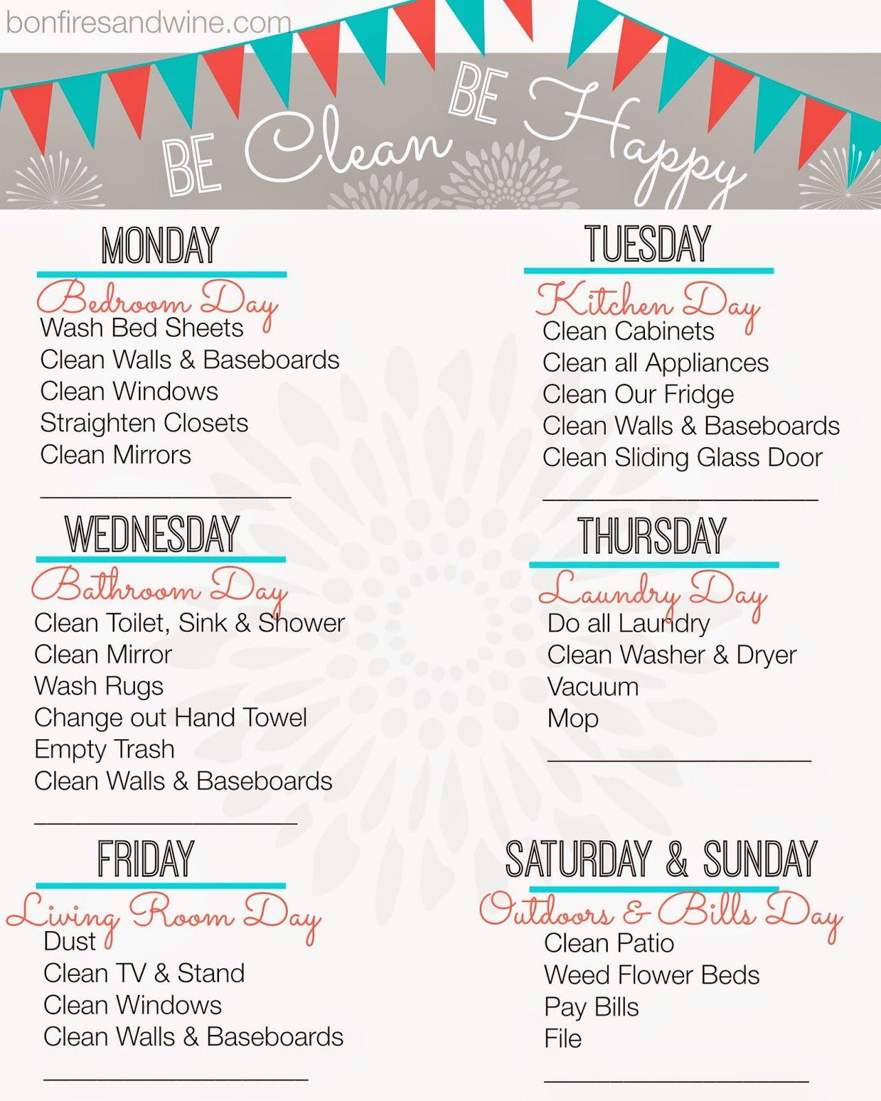 Weekly Cleaning Schedule Free Printable Free Printable