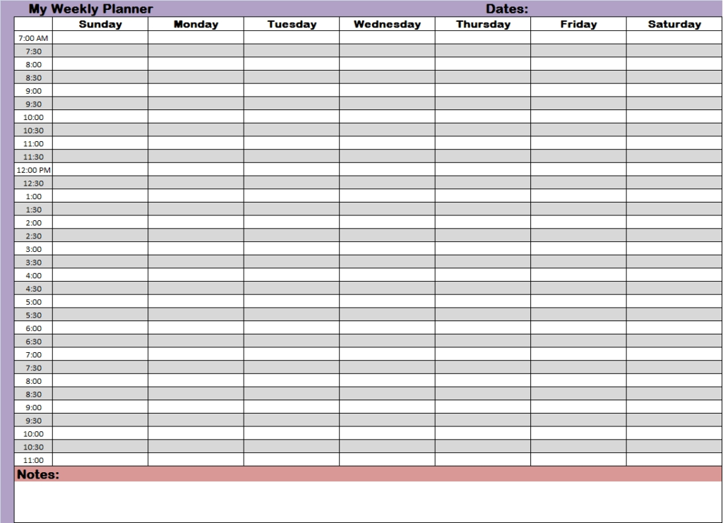 Weekly Planner With Time Slots Printable Free Calendar