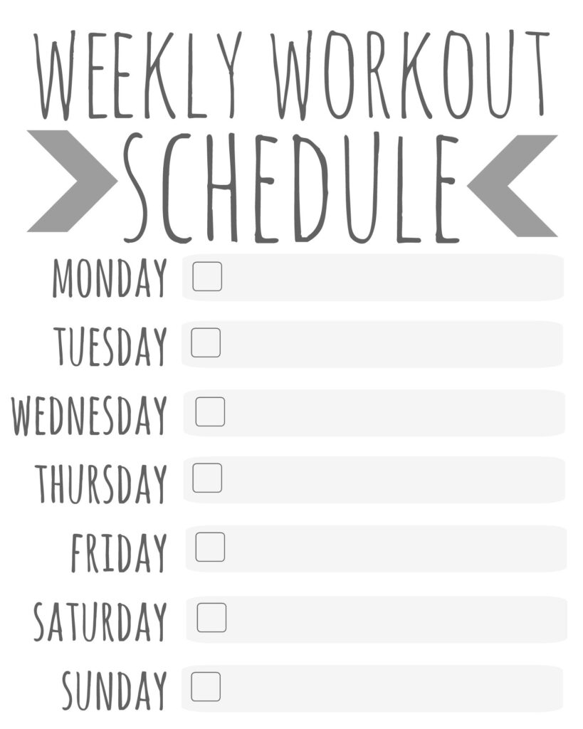 Weekly Workout Schedule Printable Talk Less Say More