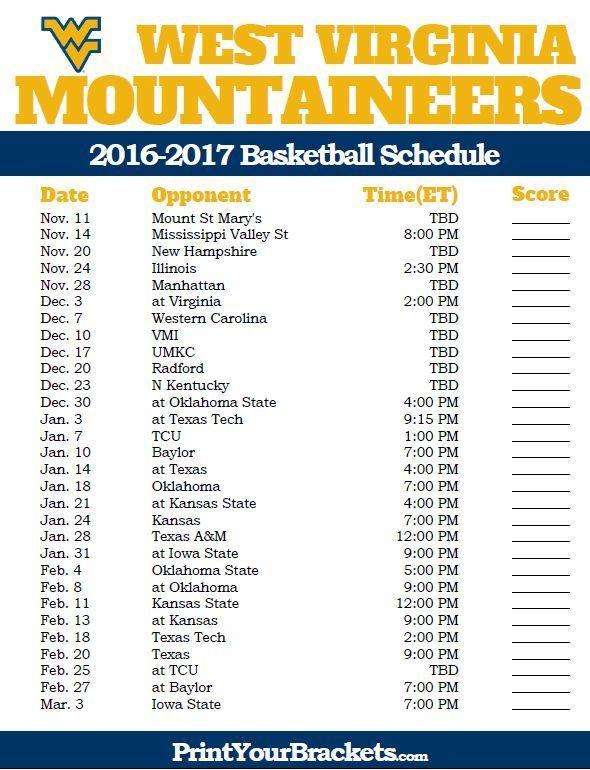 West Virginia Mountaineers 2016 2017 College Basketball