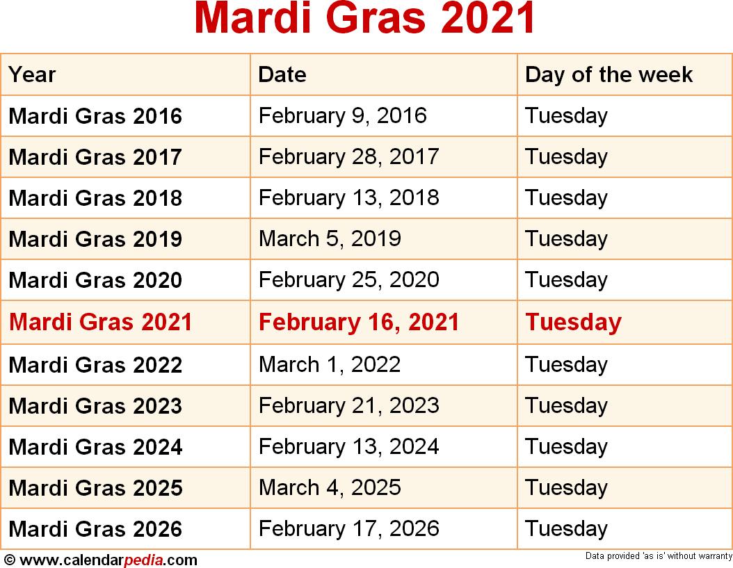When Is Mardi Gras 2021