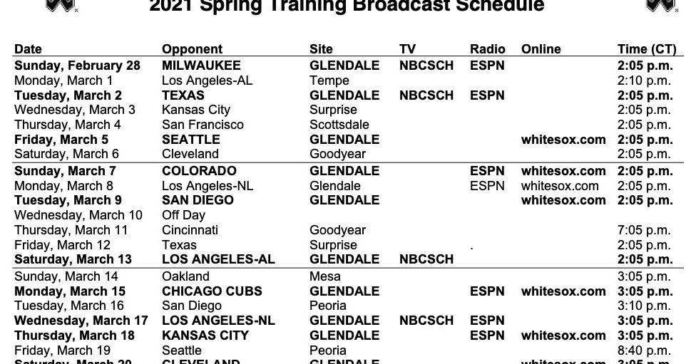 White Sox 2021 Spring Training Broadcast Schedule