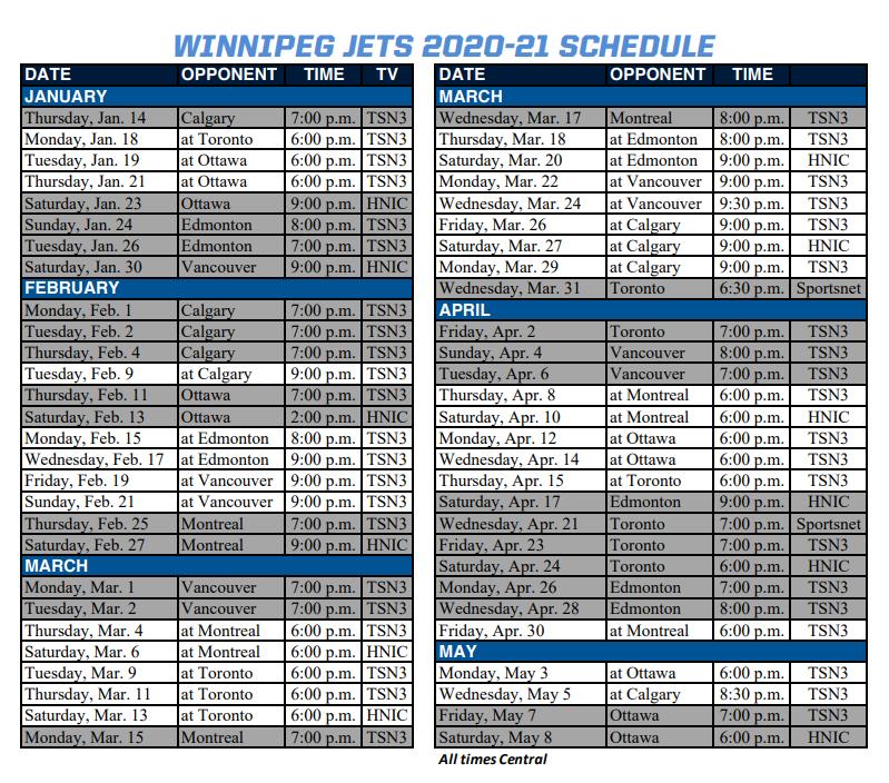 Winnipeg Jets Broadcast Schedule Illegal Curve Hockey
