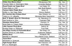 Ncaa Bowl Schedule Printable